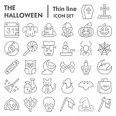 Halloween thin line icon set. Party symbols collection, vector sketches, logo illustrations, web signs, outline style pictograms package isolated on white background