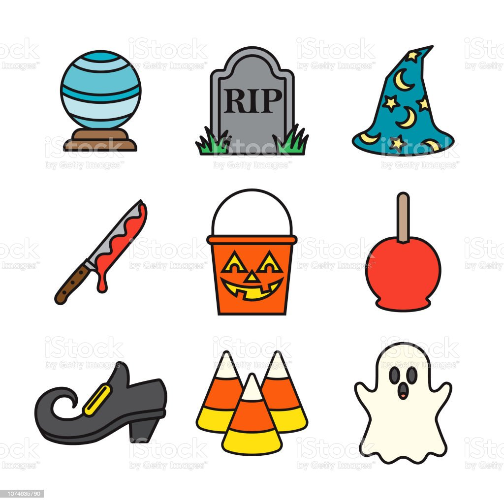 Halloween Thin Line Icon Set vector art illustration