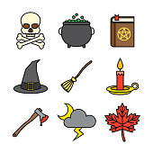 Halloween Thin Line Icon Set