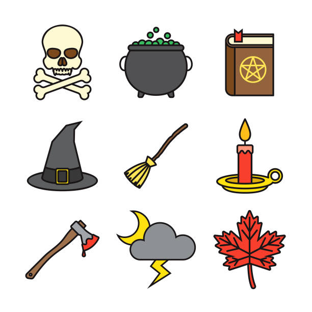 Halloween Thin Line Icon Set vector art illustration