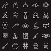 A group of 25 black and white thin line icons. File is built in the CMYK color space for optimal printing, with 100% black and white swatches. Icons are grouped and easy to isolate.