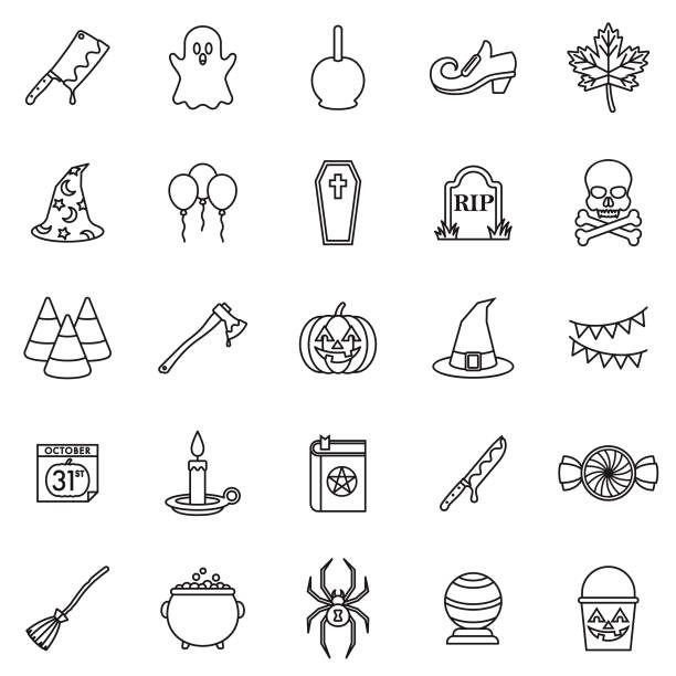 halloween thin line outline icon set - vegetable blood stock illustrations, clip art, cartoons, & icons