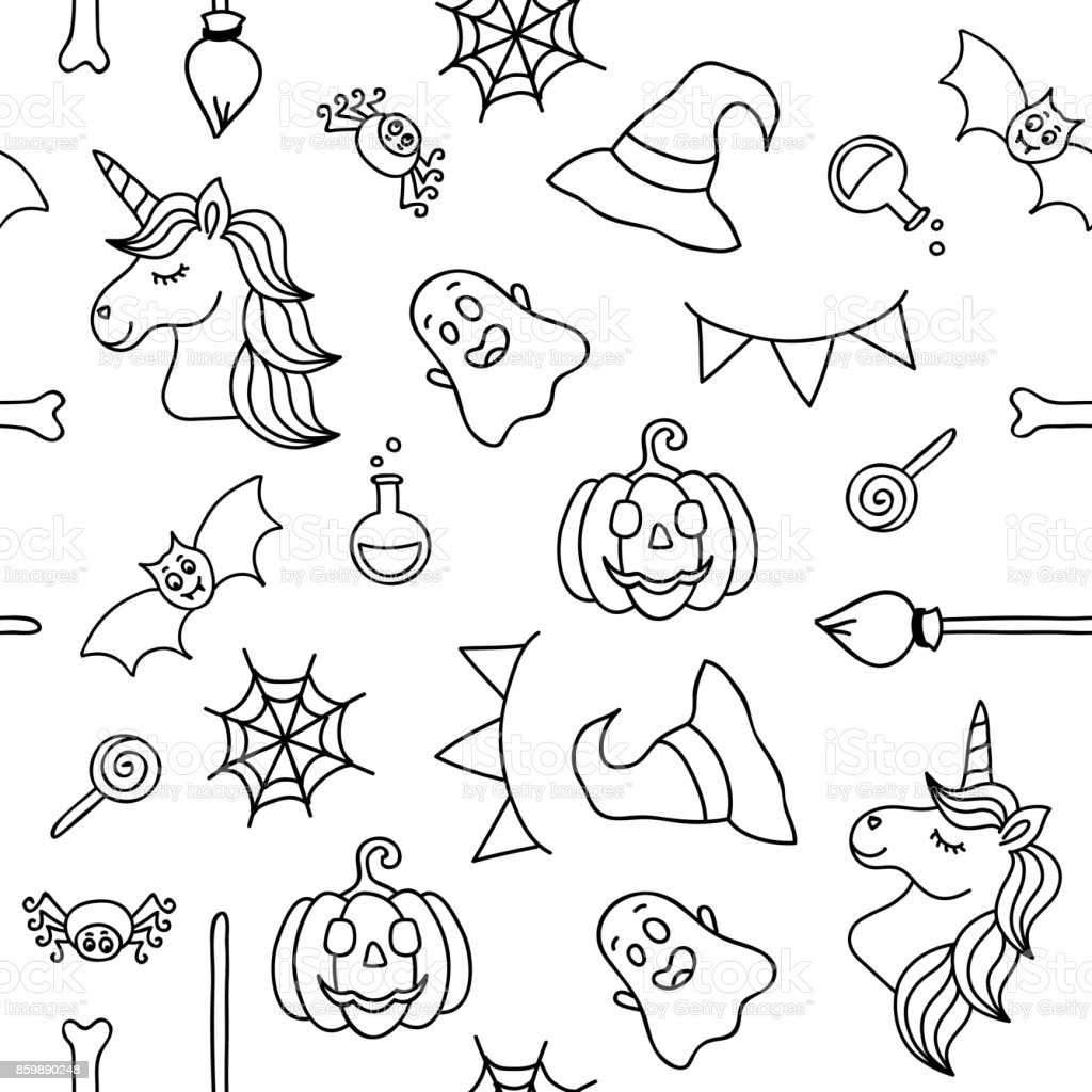 Good Wallpaper Halloween Unicorn - halloween-things-and-unicorn-black-outline-seamless-pattern-vector-id859890248  Collection_871492.com/vectors/halloween-things-and-unicorn-black-outline-seamless-pattern-vector-id859890248