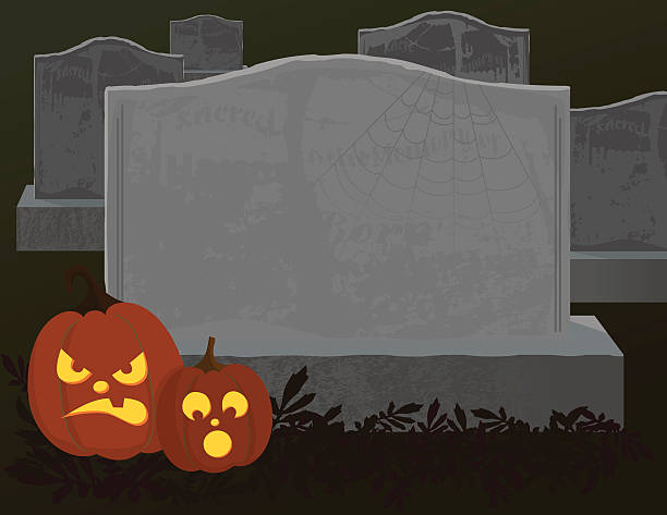 halloween tombstone with copy space - tombstone stock illustrations, clip art, cartoons, & icons
