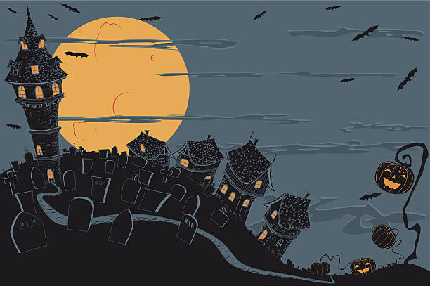 Halloween Town Halloween background with a dark town, cemetery and other halloween elements. spooky halloween town stock illustrations