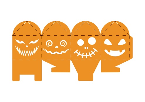 Halloween treat box with scary pumpkins. Jack-o-lantern facial gift party packaging for sweets, candies, small present, bakery. Simple package die cut template for laser cut. Vector stock illustration