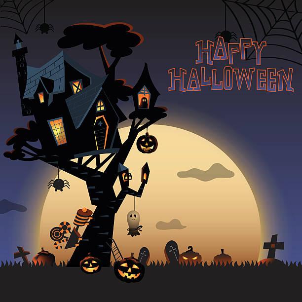 halloween tree house at a night c - geistergeschichten stock-grafiken, -clipart, -cartoons und -symbole