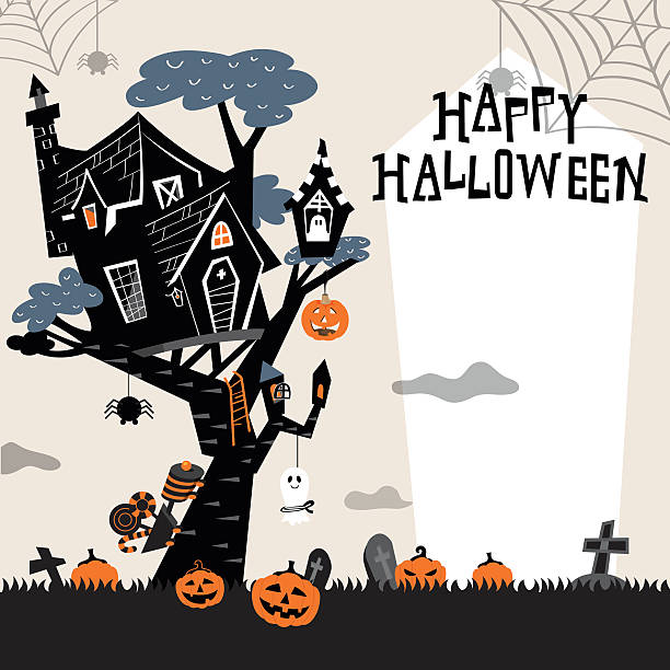 halloween baum haus b - geistergeschichten stock-grafiken, -clipart, -cartoons und -symbole