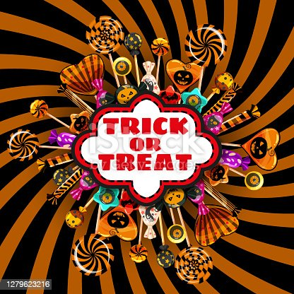 istock Halloween Trick or Treat banner Candy and sweets template. Autumn october holiday tradition celebration poster. Vector illustration isolated 1279623216