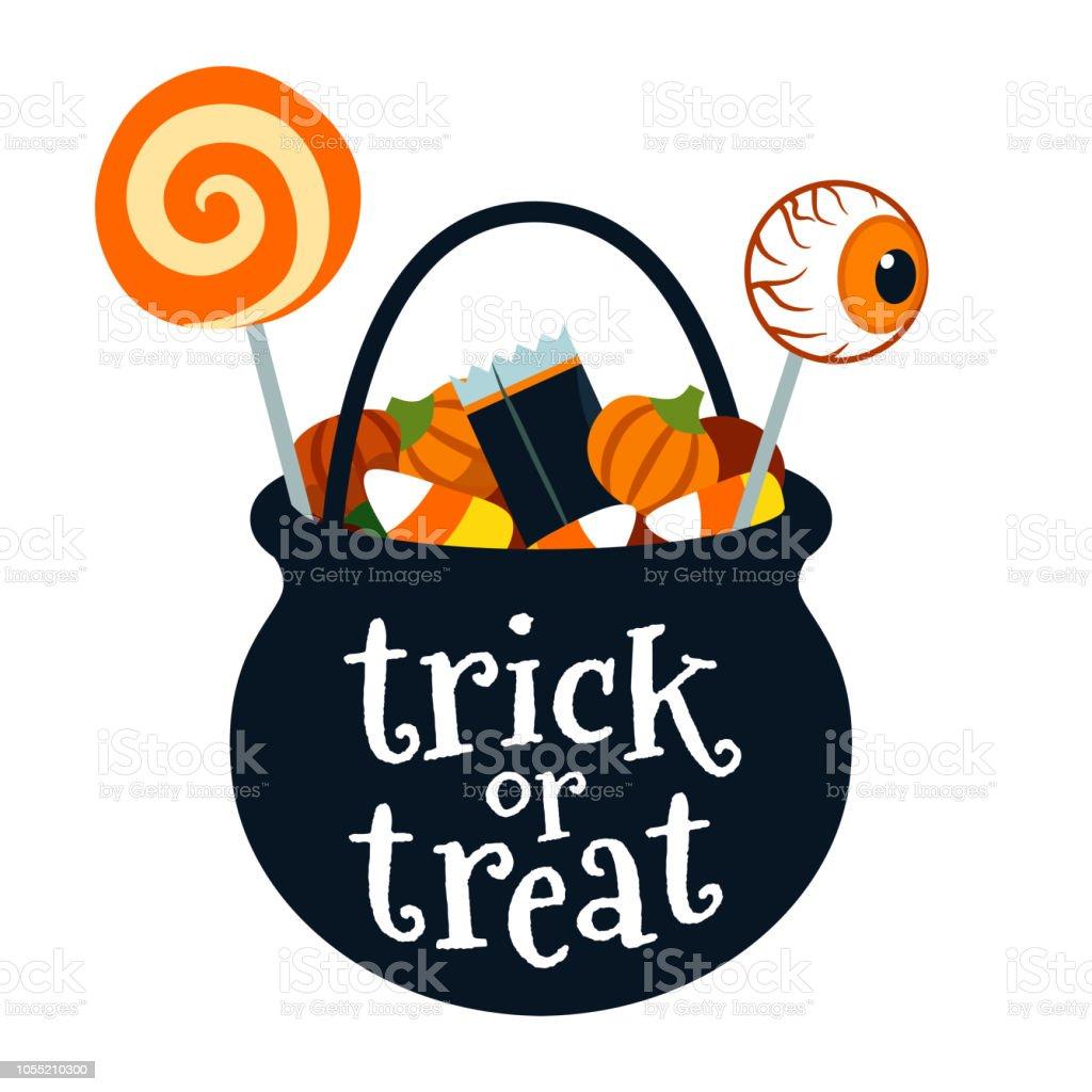 Halloween Trick Or Treat Black Cauldron Bucket Full Of ...
