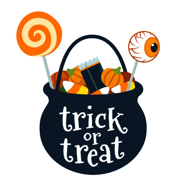 halloween trick or treat black cauldron bucket full of candy vector cartoon illustration isolated on white. lollipops, candy corn, candy pumpkins. fall halloween treats for children design element. - halloween candy stock illustrations