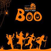 Halloween trick or treat. Boo design.