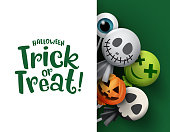 Halloween trick or treat candy vector background template. Halloween trick or treat text in white empty space and scary candies halloween cover of ghost, pumpkins and ghost in white background. Vector illustration.