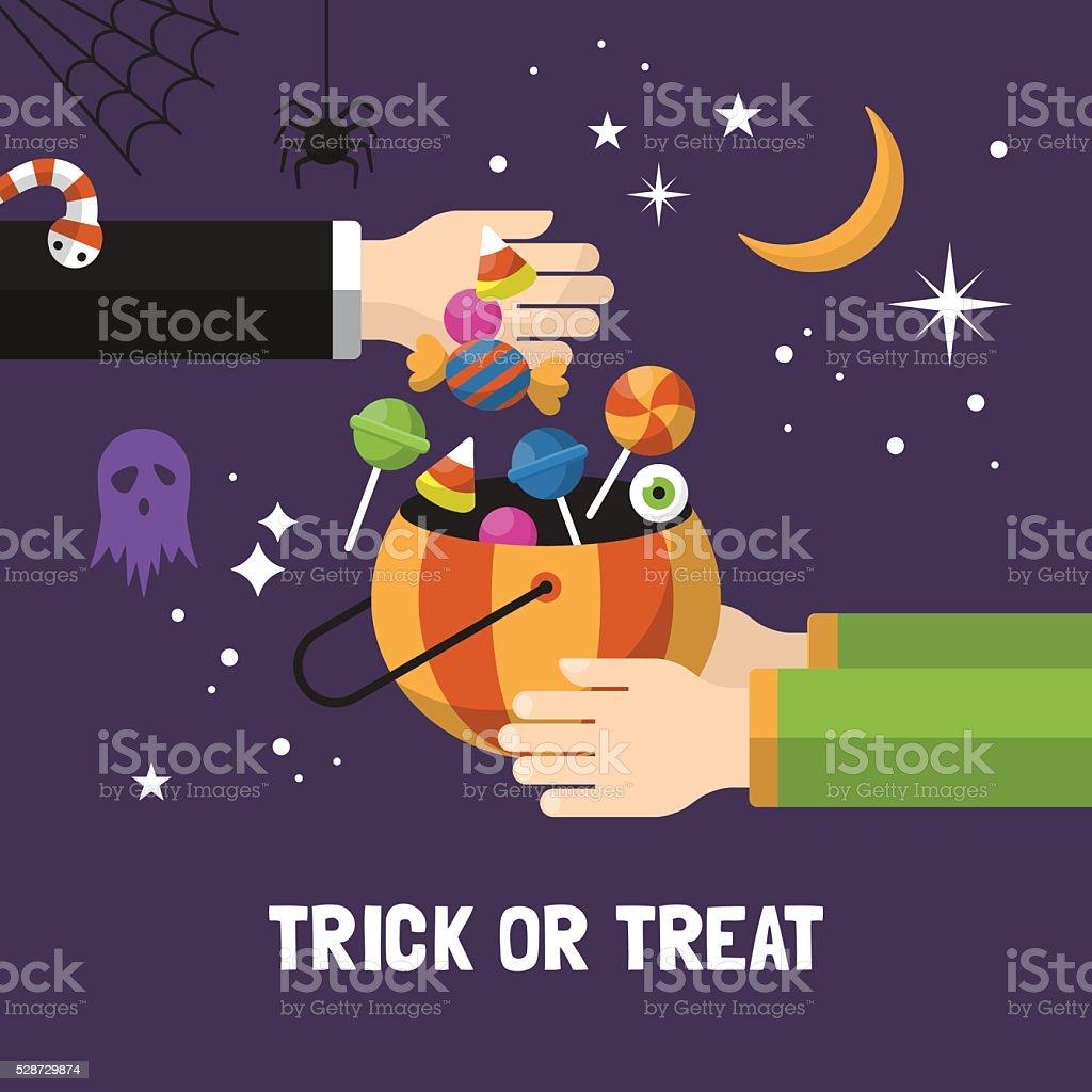 Halloween trick or treat card design. Vector illustration vector art illustration