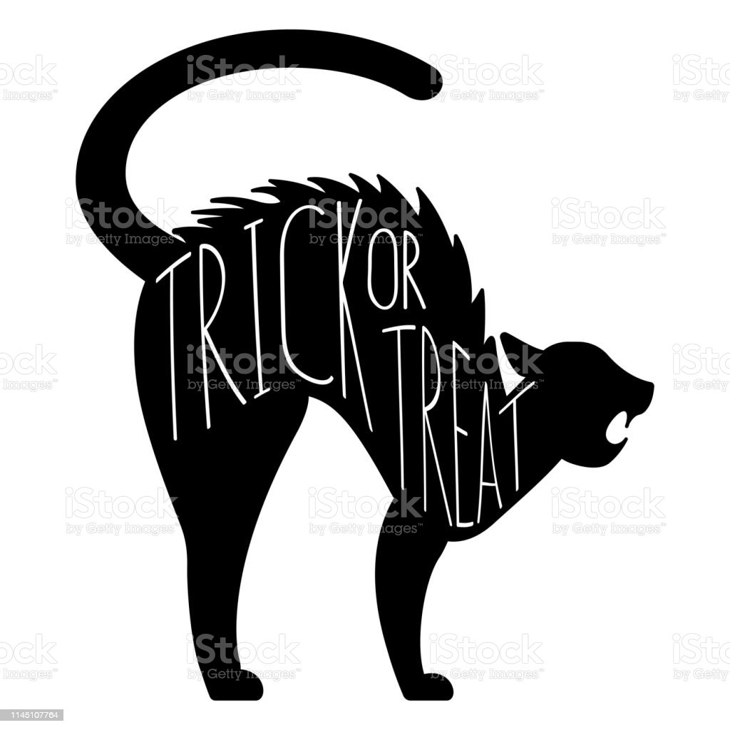 Halloween Trick Or Treat Silhouette.Halloween Trick Or Treat Cat Vector Graphic Silhouette Stock