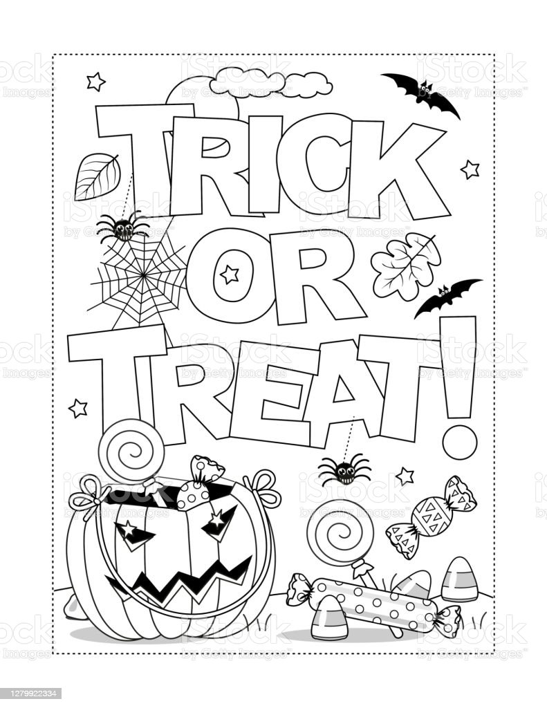 80 Halloween Coloring Pages Printable Illustrations & Clip Art - IStock
