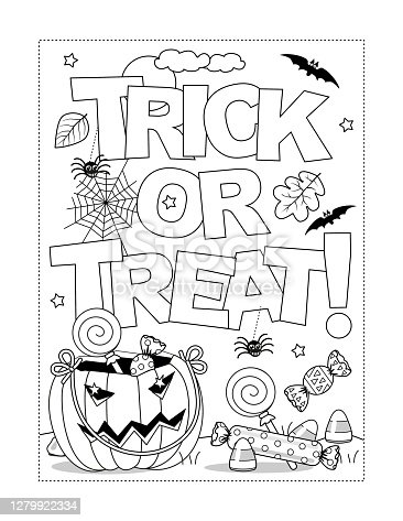 """istock Halloween """"Trick or treat!"""" coloring page, poster or banner 1279922334"""