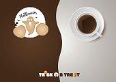 Halloween - Trick or treat, cookies, cup of coffee