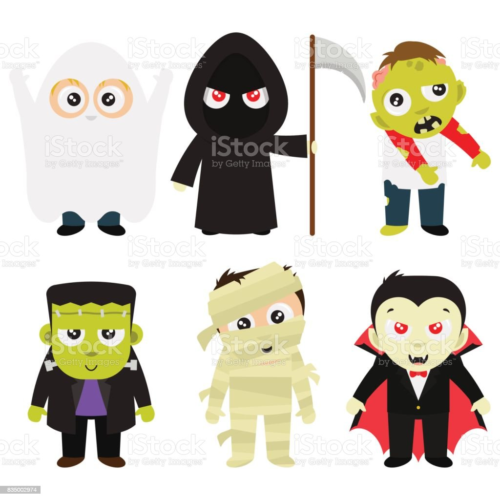 Halloween Trick Or Treat Costumes In White Background vector art illustration