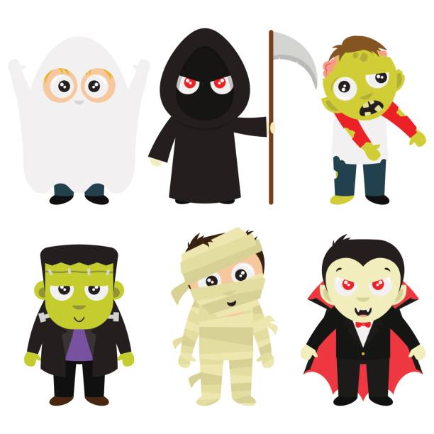 halloween trick or treat costumes in white background - frankenstein stock illustrations