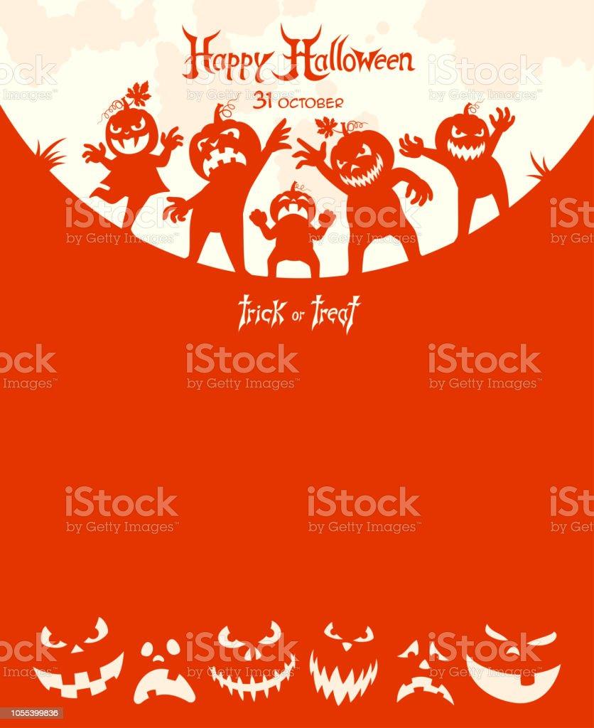 Halloween Trick or Treat - Poster vector art illustration