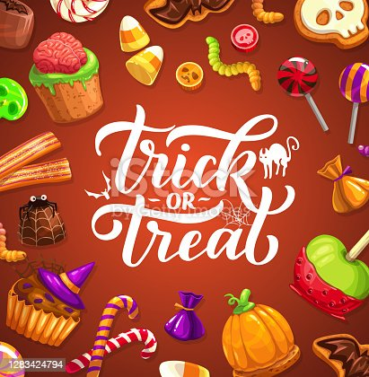 istock Halloween trick or treat poster with lettering 1283424794