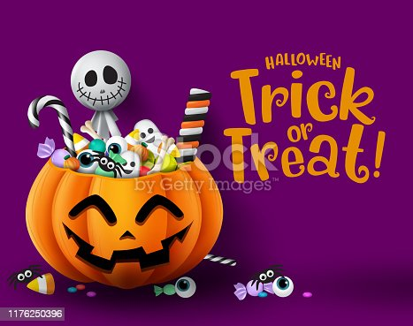 istock Halloween trick or treat pumpkin vector background template. Halloween trick or treat greeting text with empty space for message and pumpkin basket. 1176250396