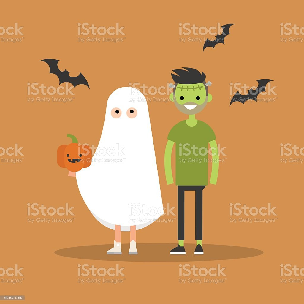 Halloween trick or treat set vector art illustration
