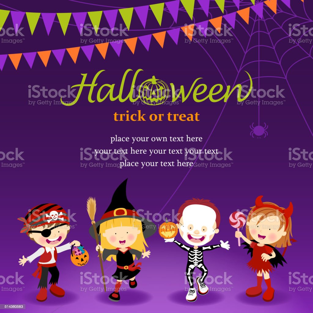 Halloween Trick Or Treat vector art illustration