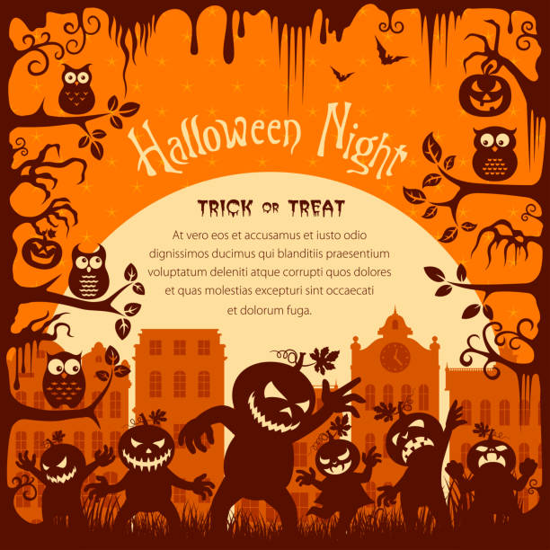 Halloween Trick or Treat Halloween Trick or Treat spooky halloween town stock illustrations
