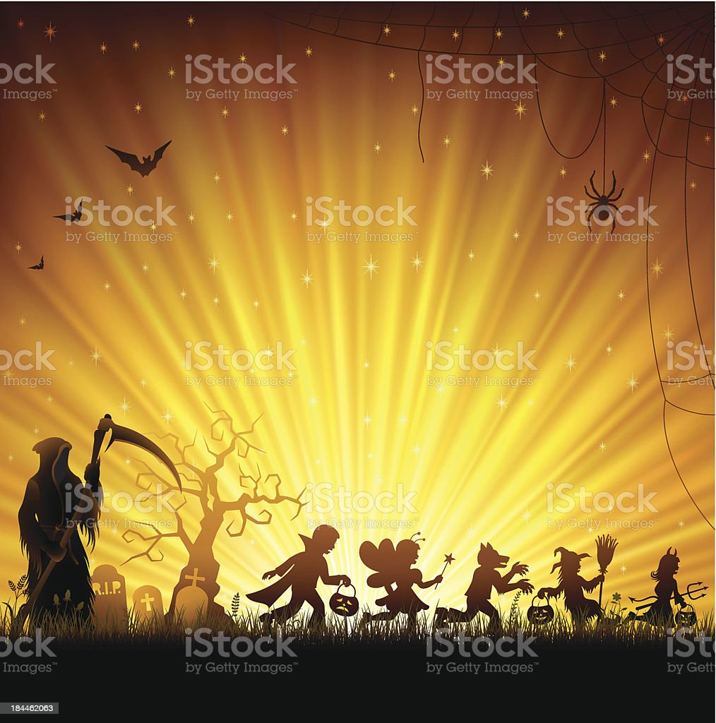 Halloween Trick Or Treaters royalty-free halloween trick or treaters stock vector art & more images of backdrop
