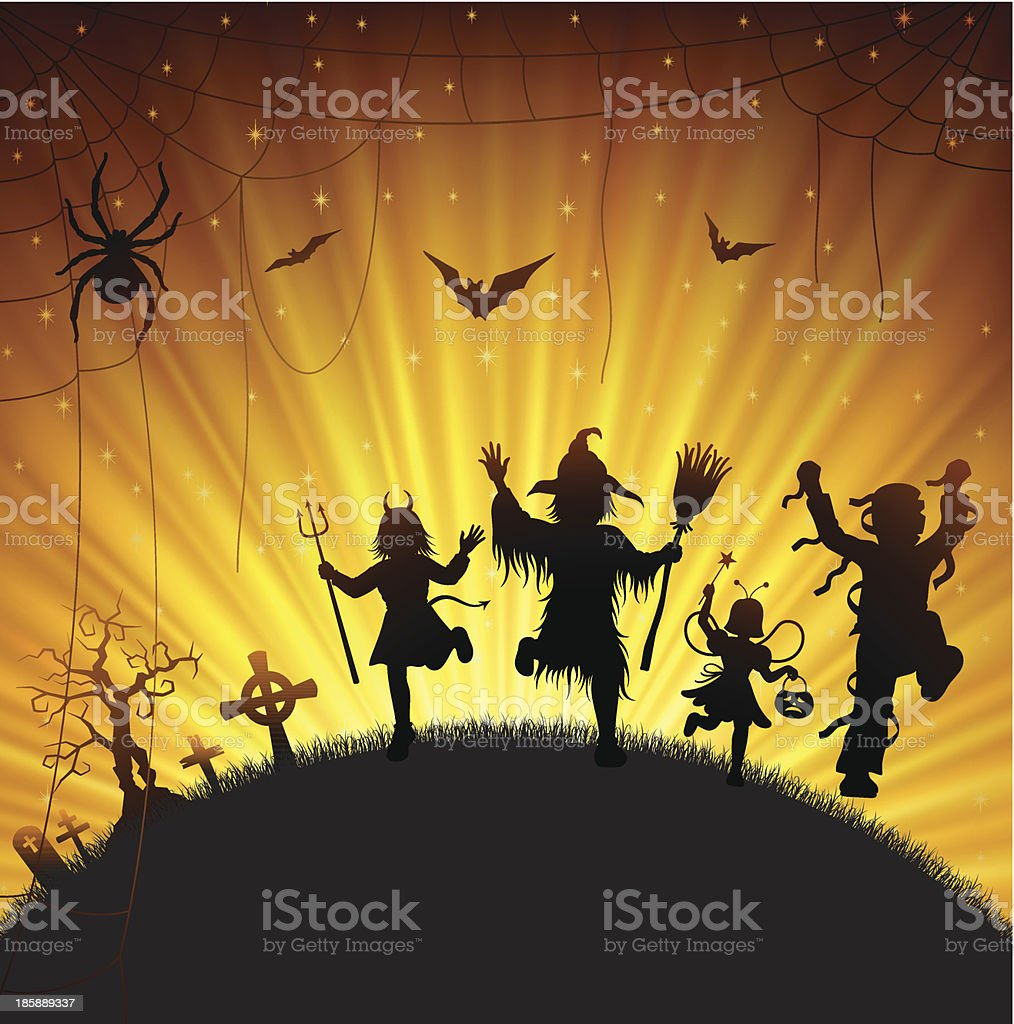 Halloween Trick Or Treaters royalty-free stock vector art