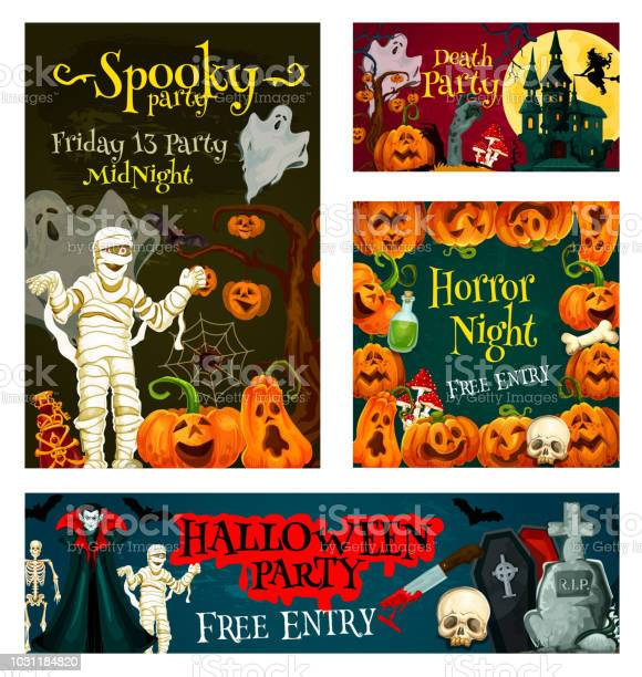 Halloween trick treat party vector poster banner vector id1031184820?b=1&k=6&m=1031184820&s=612x612&h=isrrtyroj0usp zvupglrtlxmiwuf6h3xgmpyflirwc=
