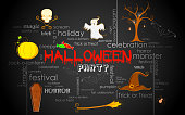 illustration of Halloween typography with different element
