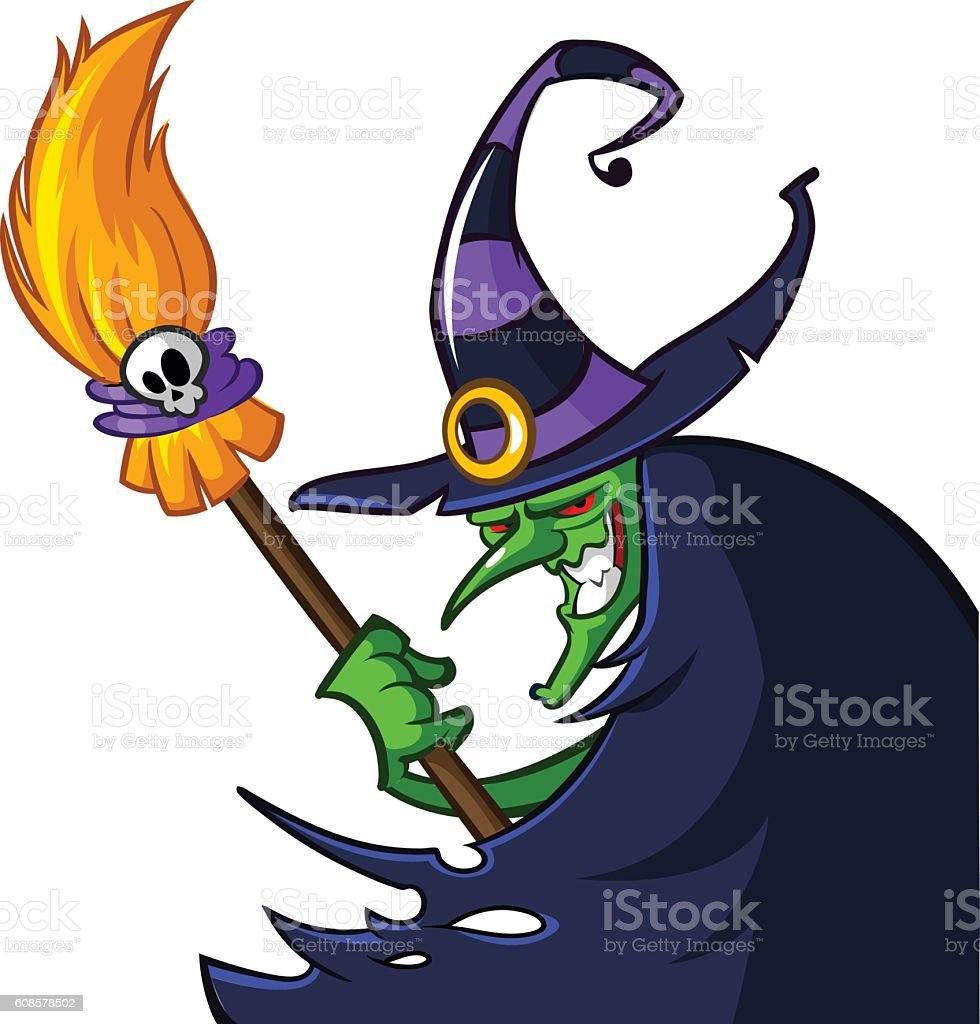 Halloween ugly witch in a hat with a broom vector art illustration