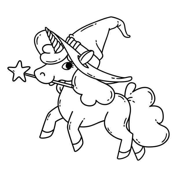 Vectores de Bebé Unicornio Para Colorear Página y Illustraciones ...