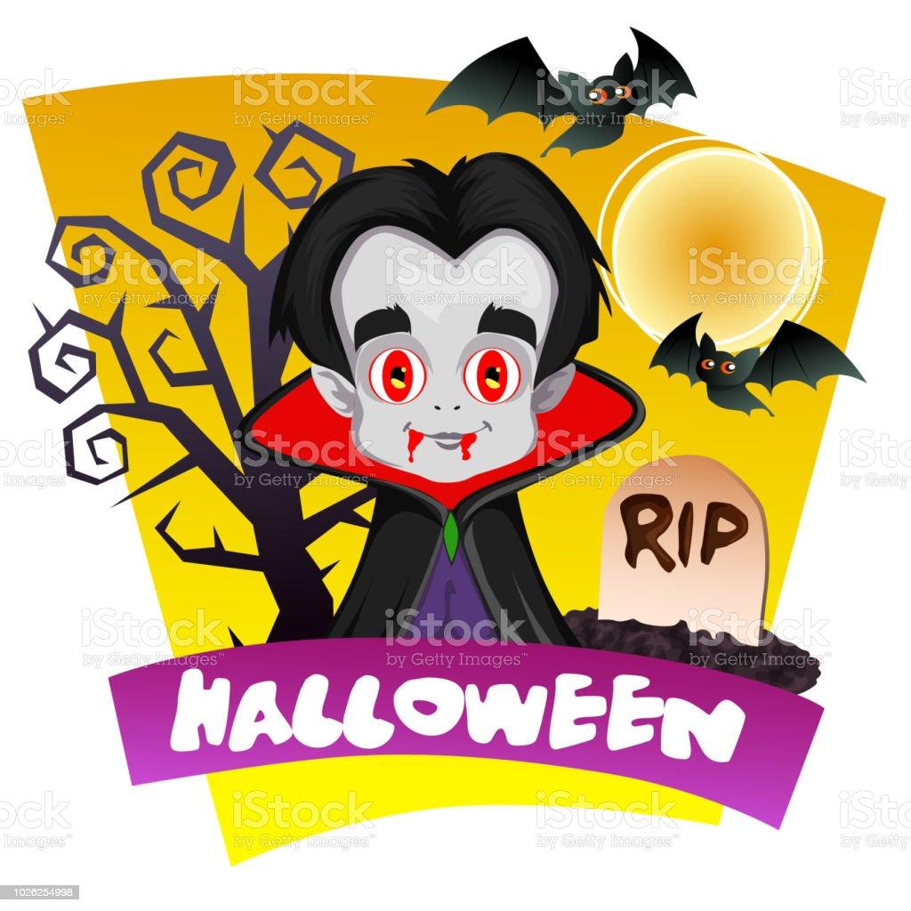 Halloween Vampire Dracula Theme Stock Illustration