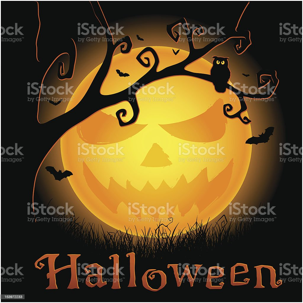 Halloween vector background with scary moon royalty-free halloween vector background with scary moon stock vector art & more images of autumn