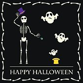 Halloween vector background with skeleton and ghosts from hat
