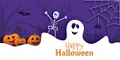 istock Halloween vector card illustration in paper cut style 1277578402