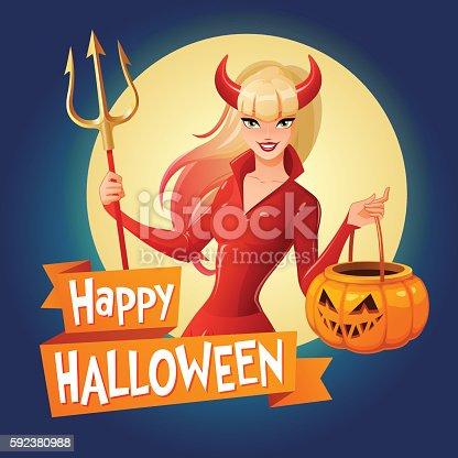 istock Halloween vector card. Woman in devil costume with pumpkin basket. 592380988