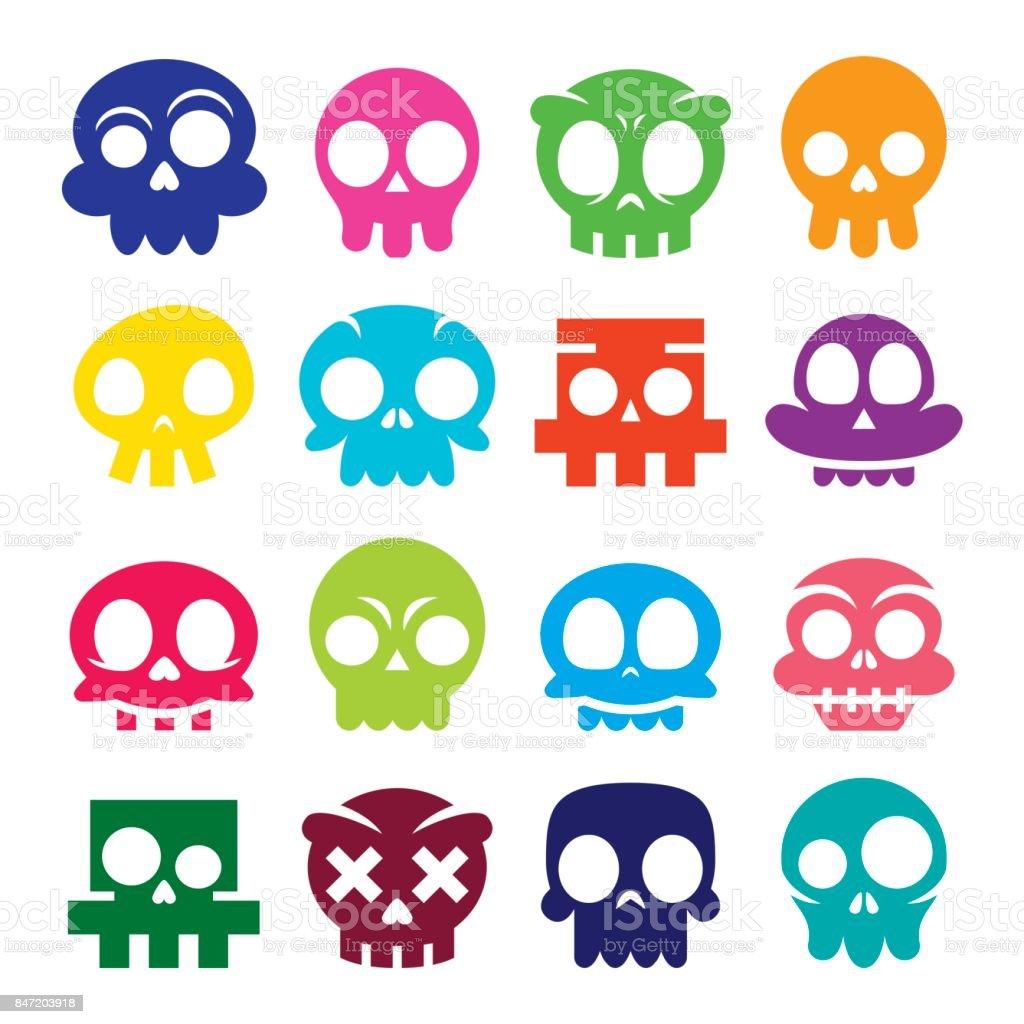 Ilustración De Halloween Vector Cartoon Cráneo Los Iconos Calaveras