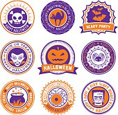 Set of 9 circular labels and seals for Halloween.