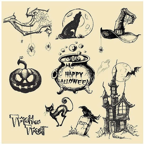Halloween vector collection.Hand drawn illustration Halloween. Line art. Doodle. Black and white drawings by hand halloween cat stock illustrations