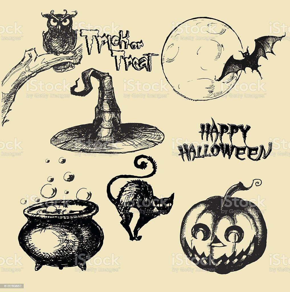 Halloween vector collection.Hand drawn illustration vector art illustration