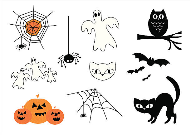 Halloween Vector Icon Set Halloween fun icons and symbols. halloween cat stock illustrations