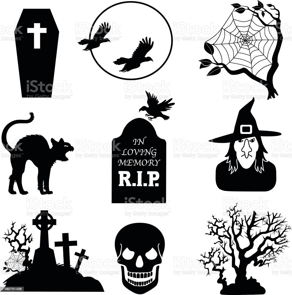 Halloween Vector Icons In Black And White stock vector art ...