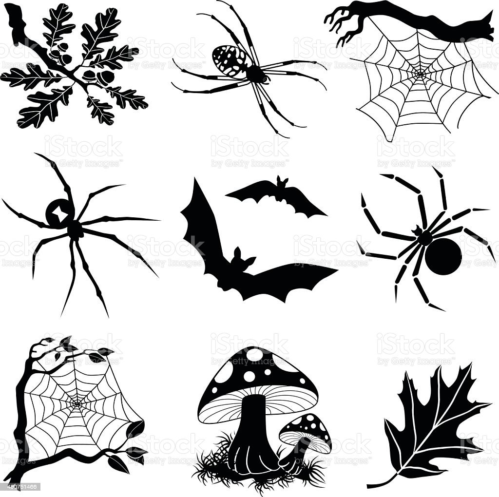 Halloween Vector Black And White.Halloween Vector Icons In Black And White Stock Vector Art More