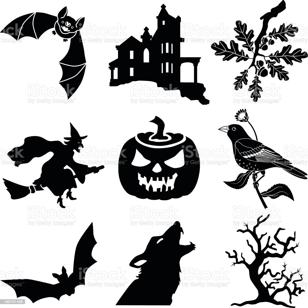Halloween vector icons in black and white vector art illustration