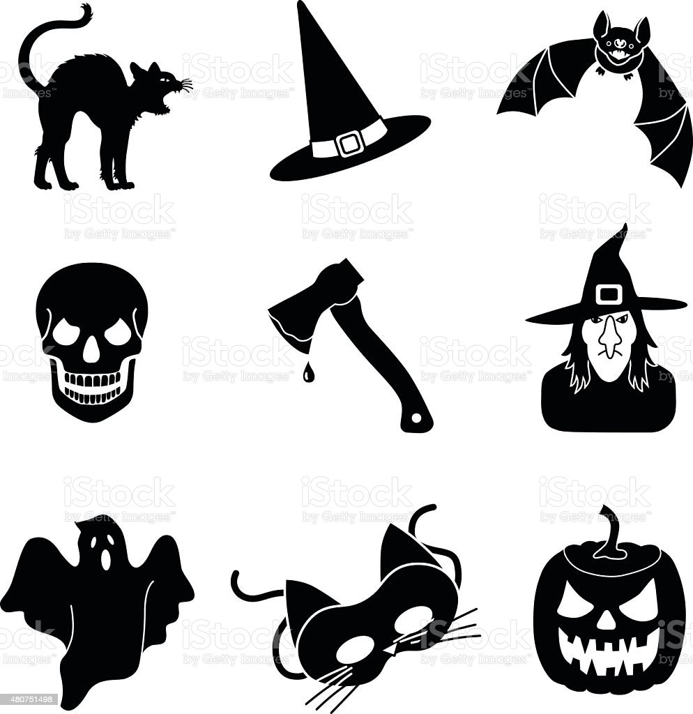 Halloween Vector Icons In Black And White Stock ...